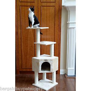 "48"" Glee Pet Cat Tree Condo House Scratching Post Perch Tower Furniture Beige"