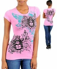 N06 -Large- Pink,Wings Tattoo Print with Rhinestones Stretch,Cotton Top