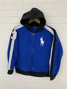 Polo Ralph Lauren Full Zip Hooded Sweater Blue Youth Size L 14-16