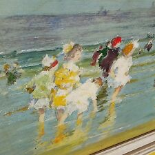 OLD VTG STRETCHED CANVAS OIL PAINTING CHILDREN BEACH SURF SCENE EDWARD POTTHAST