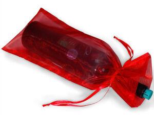 10 Sheer Organza 6-1/2x15 Wine Bags Christmas Holiday Weddings New Year's Gifts