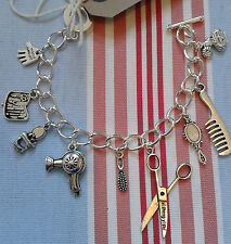 HAND MADE HAIRDRESSER Stylist/Beautician/Salon Silver Plated Charm Bracelet