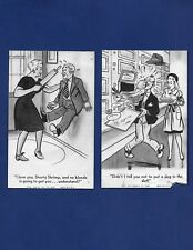 TWO 2 VINTAGE MUTOSCOPE ARCADE EXHIBIT CARDS COMIC COMEDY 1945 1947