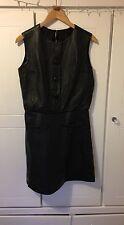 Mini Vestido 1960s Vintage Mod Gogo De Cuero Negro 10/12 M