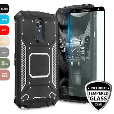 For LG Q Stylus/Plus/Q Stylus Alpha Metal Magnetic Support Case+Tempered Glass