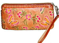 Leather Wristlet Cell Phone Carry,Change Purse.Beautiful and useful,Lovely Brown
