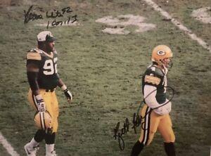 Green Bay Packers signed 11x14 Reggie White & Brett Favre Photo Beckett Reviewed