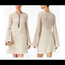 Free People Women's New Ivory 56%WOOL Rabbit Sweater Shift Dress S $198