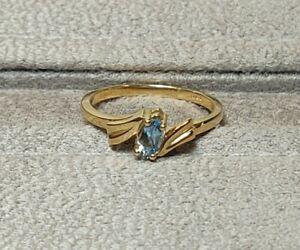 NEW 14kt Yellow Gold Marquise Shape Aquamarine Ring Size 6 STULLER Inc