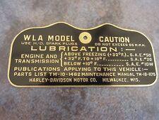 Harley Davidson WLA Military Data Plate