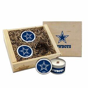 Dallas COWBOYS NFL 3pc Candle Wooden Box Set WoodWickSoyWaxHandPouredTravelTin
