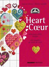 Carnet Mango POINT CROIX + 400 motifs Heart COEUR à broder Monique Bonnin