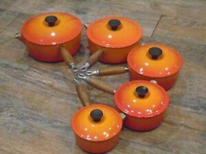 Le Creuset Cast Iron 5 Saucepan Set Volcanic Orange 14, 16, 18, 20 and 22