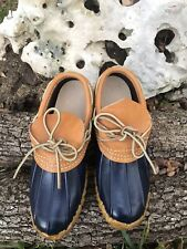 Women's L.L. LL Bean Navy And Tan Leather Rubber Moc Boots Maine Shoes SZ 6 Low
