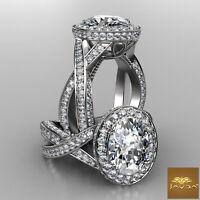 Cross Shank Oval Diamond Halo Engagement Ring GIA F VS1 18k White Gold 3.02ct