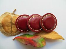 60s Vintage Med 'Wet Look' Couture Maroon Red Leather Coat Dress Buttons-30mm