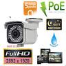 5MP 2592*1920P HD 1080P Outdoor Varifocal 2.8-12mm PoE IP Security Camera 180FT