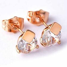 Free Shipping Womens Rose Gold Filled Cubic Zirconia Small Lovely Stud Earrings