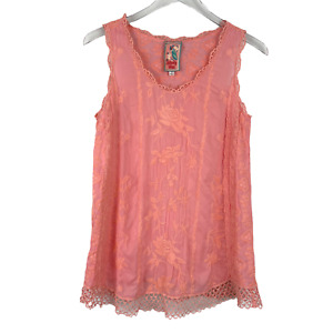 Johnny Was Embroidered Floral Eyelet Sleeveless Tank Top Peach Pink Size XS