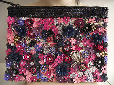 BN MONSOON AMELIA PINK BLUE PURPLE GOLD BUG 3D FLORAL DRESS CLUTCH BAG £35
