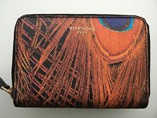 GIVENCHY PEACOCK FEATHERS Mini Printed & Coated Zip Around Wallet- NWT/ BOX