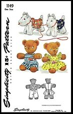 Simplicity # 1149 Stuffed Animals DOG BEAR TOYS Fabric Sewing Pattern w/ Clothes