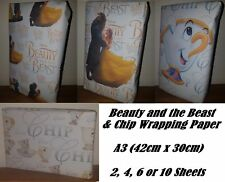 BEAUTY AND THE BEAST & CHIP Wrapping Paper, 4 Designs Available! birthday party