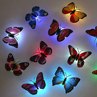 New 7 Colors Changing Cute Butterfly Magic LED Night Light Lamp Room Wall Decor
