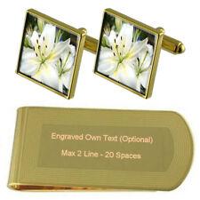 Flower Lilly Gold-Tone Cufflinks Money Clip Engraved Gift Set