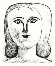 PABLO PICASSO 1956 LITHOGRAPH with COA. HEAD of a GIRL. VERY EXCLUSIVE RARE ART