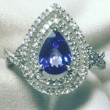 New Natural Tanzanite & Diamond Ring In 14k Solid White Gold 5.05g NWT