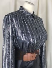 "Ultra High Shine Vintage Blouse Size 14 40"" Chest Secretary Mistress TV CD B152"