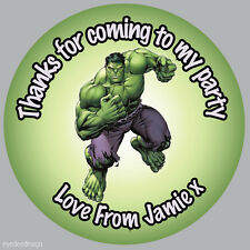 35x Personalised Hulk Marvel Avengers Birthday Stickers Party Bag Thank You- 282