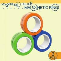 Stress Relief Magnetic Finger Spinner Rings Unzip Toy Magic Ring Props Tools New