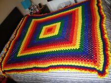 "Vintage Multicolor Rectangular Queen Size (64"" x 84"") Crochet Afghan Throw Spead"
