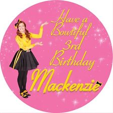 Emma Yellow Wiggle Personalised 6cm Round Stickers X 12 Per Sheet