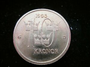 1993 Sweden 10 Kronor Coin - Close to Mint