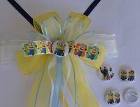 Schultüten schleife Minion Farben weiss, blau, gelb mit Anstecker, Pin, Button