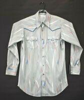 Men's XL Vintage Western Peal Snap Silky Dress Shirt Square Dance Light Blue