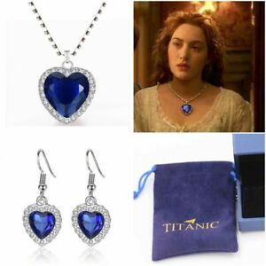 Titanic Heart Of The Ocean Necklace & Earring Jewellery Set