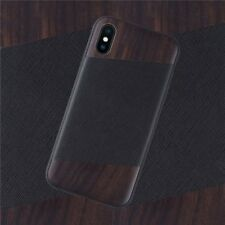 Apple iPhone X/XS Case Genuine LEATHER & Real WOODEN Premium Cover Snap On Back