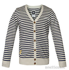 G-STAR Raw Mens Button-Front Cardigan New Aboard Striped Pattern Beige Navy BNWT