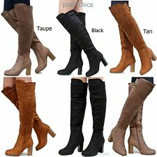 New Women FF15 Black Taupe Tan Over the Knee Thigh High Chunky Heel Boot 6 to 10