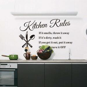 Vinyl Kitchen Rules Room Decor Art Quote Wall Decal Stickers Removable Mural U S
