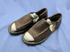 Tommy Bahama Womens 9 Brown Leather Pull On Sandals Shoes Open Toe Summer EUC