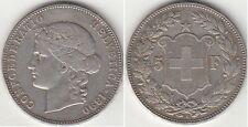 Monnaie Suisse 5 francs argent 1890 B