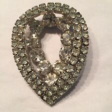 Art Deco Rhinestone 2-D Teardrop Pin Prong Set Stones Silvertone Closed Open Bac