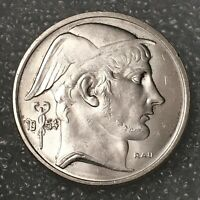 1954 BELGIUM Silver 50 FRANCS Coin, BAUDOUIN I, aUNC, Dutch Text, coin align.