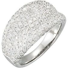 14 KT White Gold Pave Concave Diamond Cigar Band Design Wide Ring ESTATE 1.20 CT