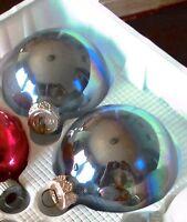 "Christmas Tree Balls Set of 2 Hanging Glass Rainbow Irridescent Ornament 3"" tall"